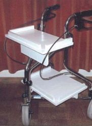 Fit trays to a three-wheeled walker