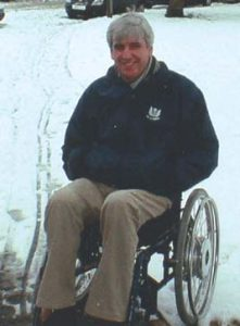 Heated trousers powered from wheelchair
