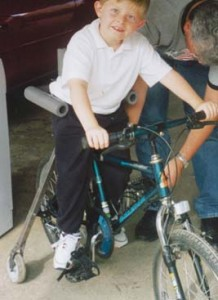 Support frame for young cyclist