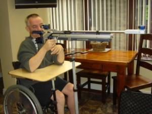 Wheelchair table for rifle shooting