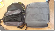 Back pack and half inflated cushion from Decathlon