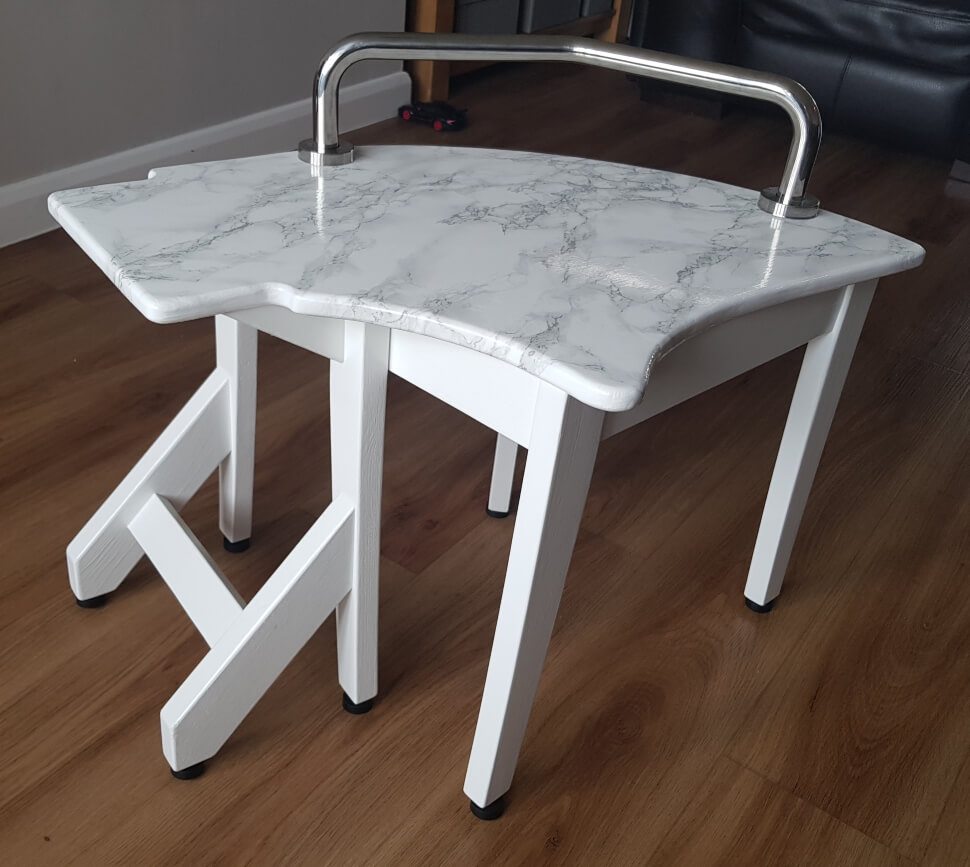 Finished transfer stool painted in white